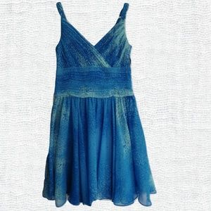 Evan Picone Aqua Print Chiffon Dress- Size 4